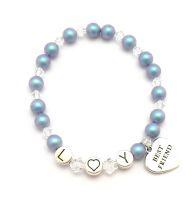 Initialen Armband mit Perlen und Anhänger bei SR Jewelry kaufen. Namensarmband mit Perlen