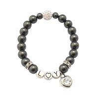 Initialen Armband mit Perlen und Anhänger bei SR Jewelry kaufen.