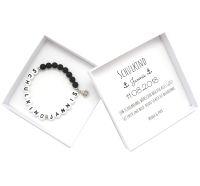Geschenk zur Einschulung Junge Schulkind Armband mit Namen personalisierte Geschenkbox