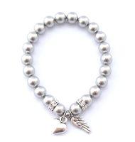 Perlenarmband mit Anhänger Herz Engelsflügel kaufen