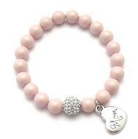 Perlenarmband rosa mit Herz Anhänger bestellen. Perlenarmbänder personalisiert. Weihnachtsgeschenk Mama bestellen.
