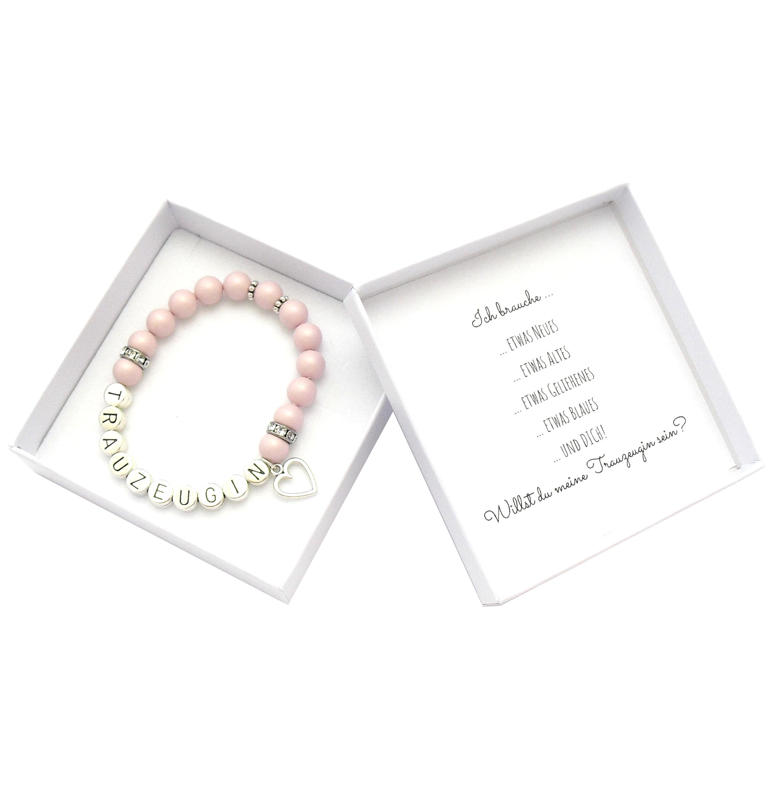 Armband Trauzeugin fragen Hochzeit Perlen weiss in Geschenkschachtel Wunschtext