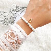 Feder Armband rosegold mit Achat Perlen.