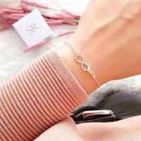 Infinity Armband Unendlichkeitszeichen mit Feder Symbol 925 Sterling Silber. Geschenkidee Freundin.