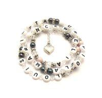 Wickelarmband personalisiert für Damen. Wickelarmband mit namen und Perlen bestellen. Geschenk Mama.