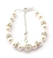 Perlenarmband personalisierbar ivory Infinity Anhänger Unendlichkeitszeichen Geschenk Trauzeugin