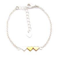 Armband 3 Herzen gold silber rosegold