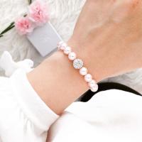 Perlenarmband rosa mit Strassperle